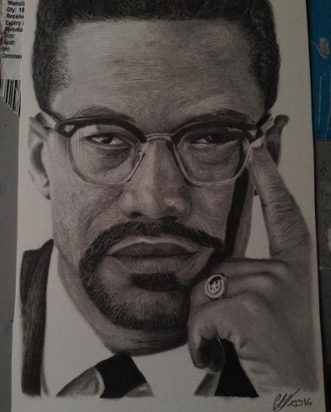 Instagram  Artist: OgChuy Titile : Malcom X Size: - Mediums: Graphite W.I.P or Done: Done