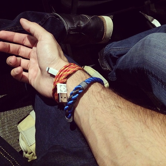 Geek fashion… #sxsw #lifehack convert your charging cable into a bracelet