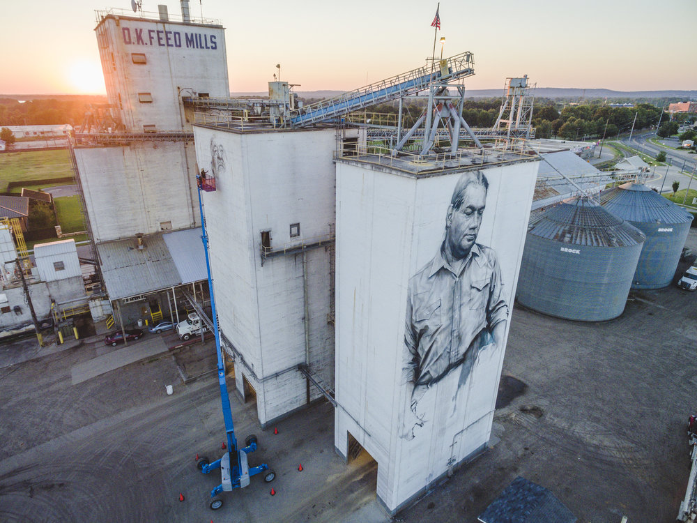 Mural by  Guido van Helten  street artis, Forth Smith, Arkansa. Drone aerial photo.