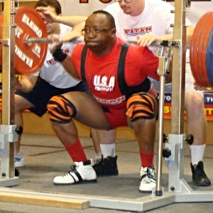 Wilson squatting 595 at the 2013 USAPL Master Nationals