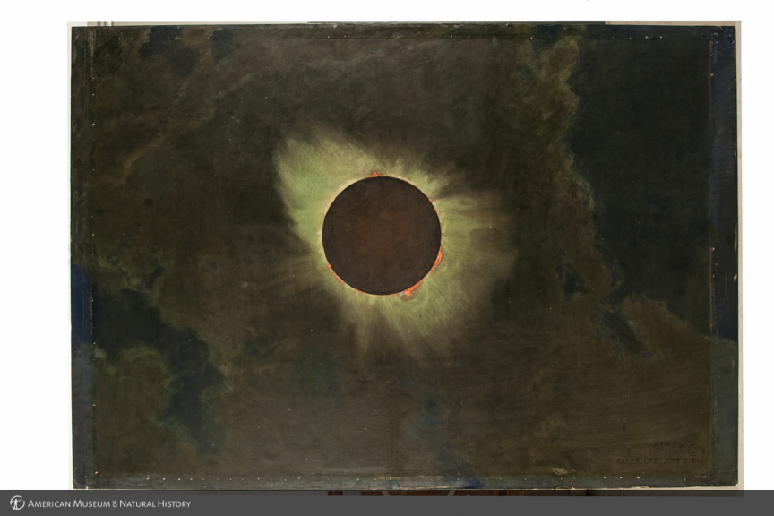 "Finnin, Denis, ""Solar eclipse as seen from Baker, Oregon, 1918, left panel in triptych, The three solar eclipses seen in the United States in 1918, 1923, and 1925, by Howard Russell Butler, 1925,""   AMNH Digital Special Collections  , accessed August 5, 2014, http://images.library.amnh.org/digital/items/show/24701."