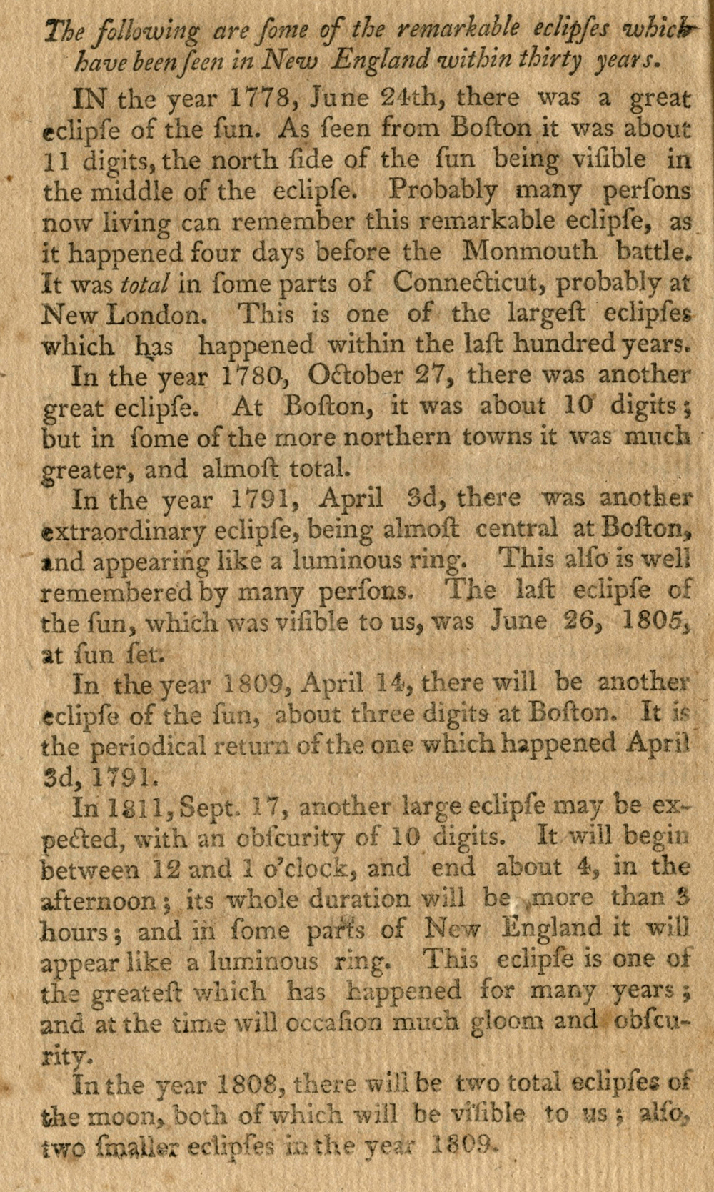 A list of eclipses for New England compiled in the 1806 pamphlet, Darkness at Noon, collection of Michael Zeiler