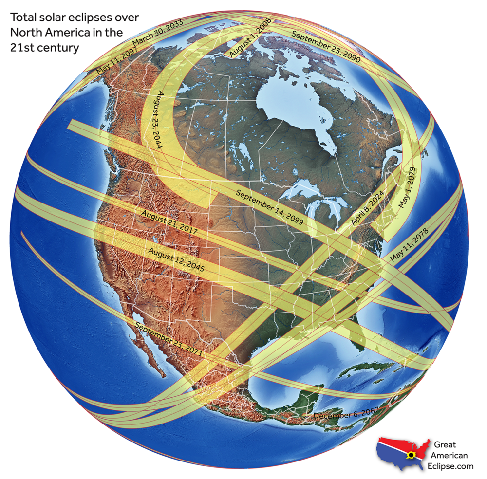After August 21, 2017, the next total solar eclipse over North America visits Mexico, the United States, and Canada on April 8, 2024. This will be the Great North American Eclipse!