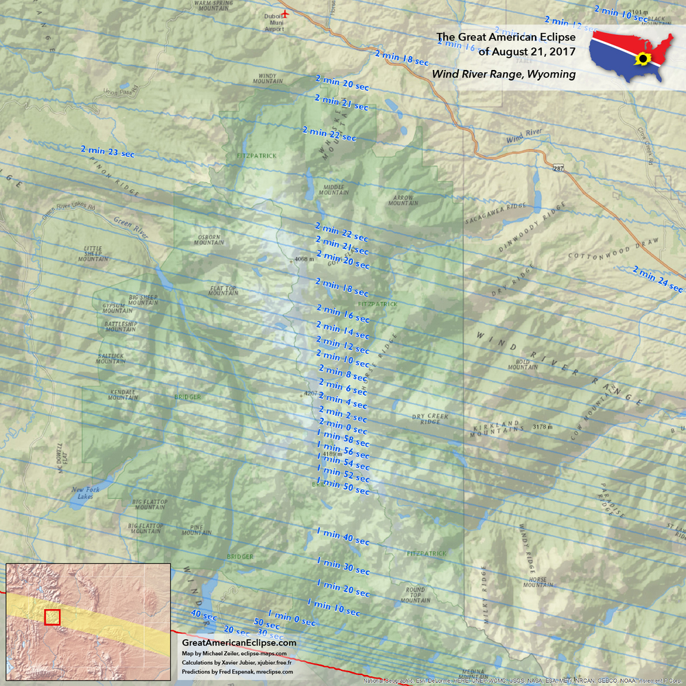 Wind River Range Wyoming Map.Wyoming Eclipse Total Solar Eclipse Of Aug 21 2017