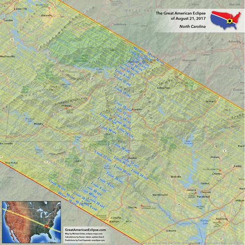 North Carolina Eclipse Total Solar Eclipse Of Aug - Full map of north carolina