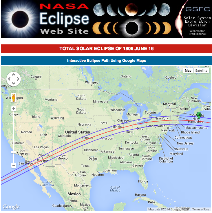 Click this map to go to NASA's interactive web map of the 1806 eclipse.