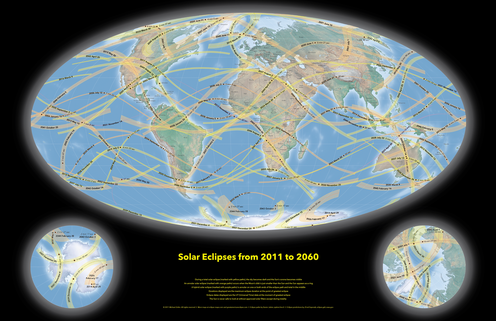 World Map Of Solar Eclipses From 2011 To 2060 Total Solar Eclipse