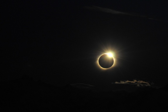 Close up of the sunset total solar eclipse over Patagonia