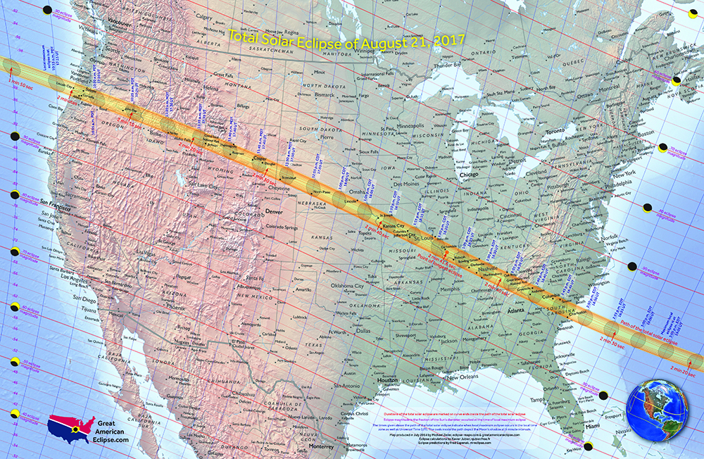 Great American Eclipse Map 2017 Eclipse Map Poster in 2 sizes! — Total solar eclipse of April