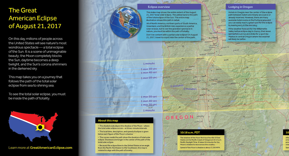 This shows the beginning of the 10 foot map infographic of the great american eclipse. Click on the image to open the 10 foot map in a new browser window. Once it appears as a long and thin map, click again within the map to enlarge as you see above. You can then scroll through this map from the Pacific to the Atlantic.