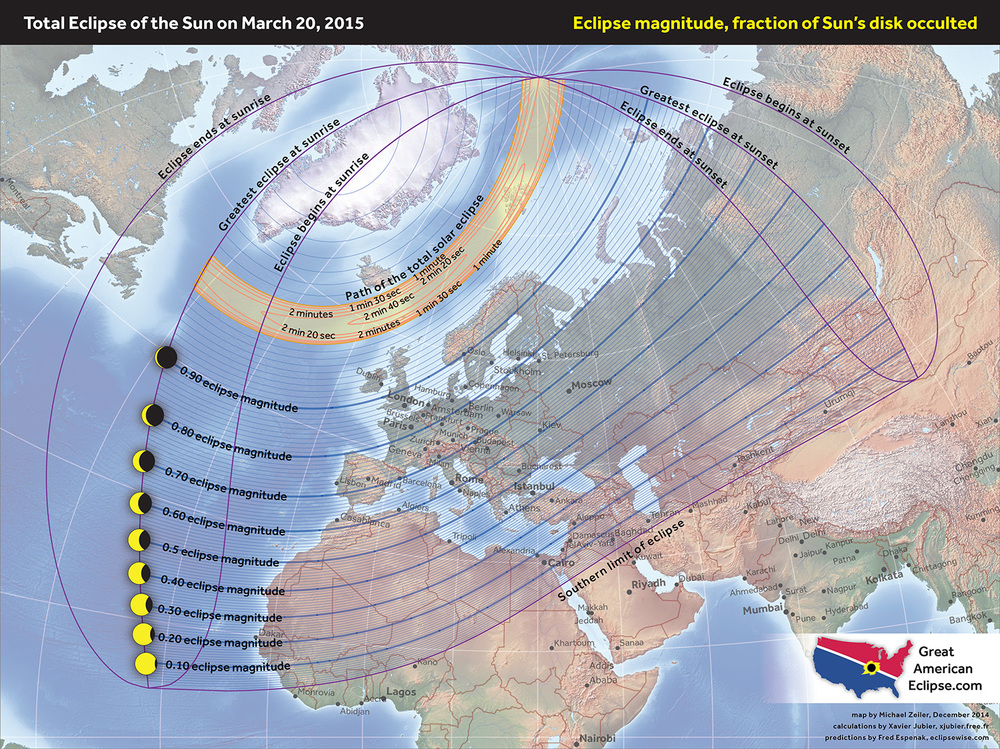 Total Solar Eclipse 2017 World Map.The Polar Solar Eclipse Of March 20 2015 Total Solar Eclipse Of