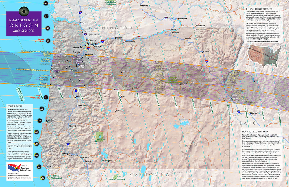 Oregon 2017 State Map — Total solar eclipse of Aug 21, 2017
