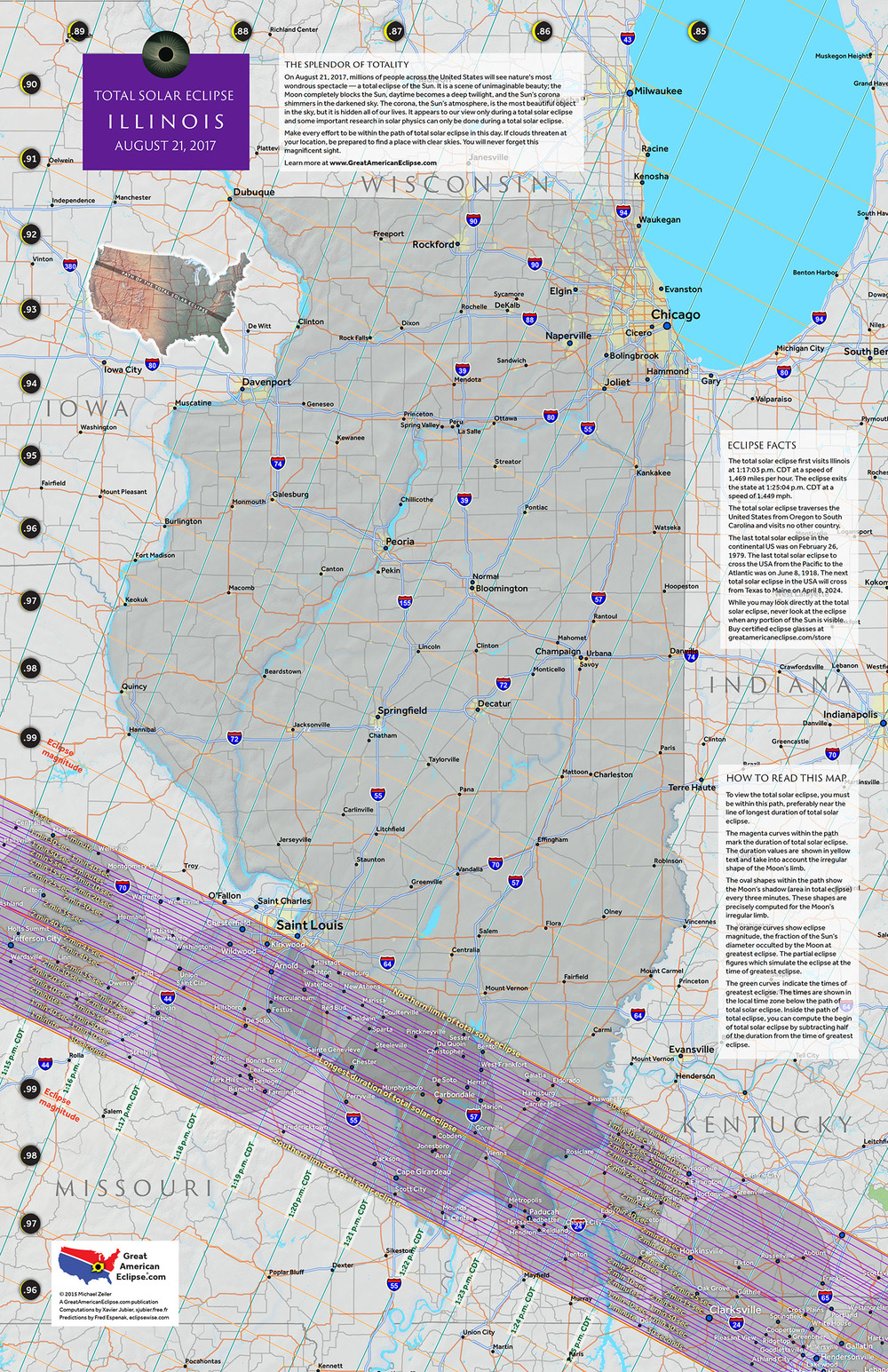 Illinois 2017 State Map — Total solar eclipse of Aug 21, 2017