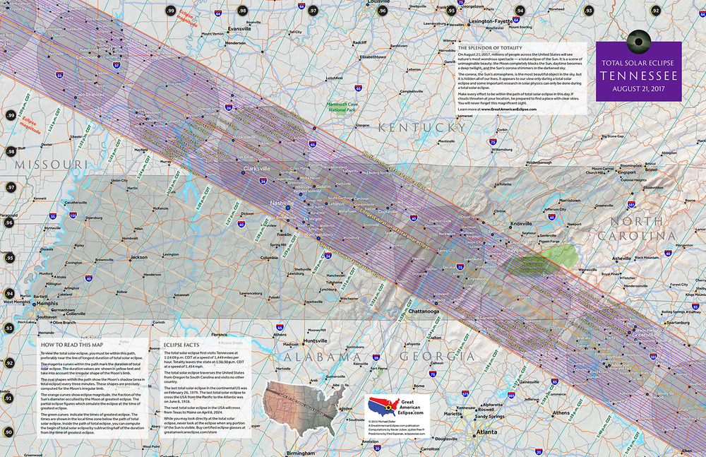 Tennessee 2017 State Map — Total solar eclipse of Aug 21, 2017