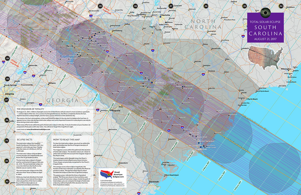 South Carolina 2017 State Map — Total solar eclipse of Aug 21, 2017