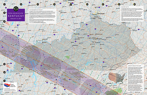 """Click to buy 11"""" by 17"""" detailed eclipse map of kentucky"""