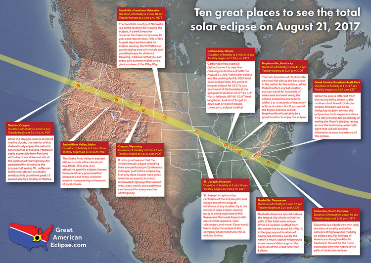 Best Places To View Total Solar Eclipse Of Aug - Hsolar eclips 2017 us maps