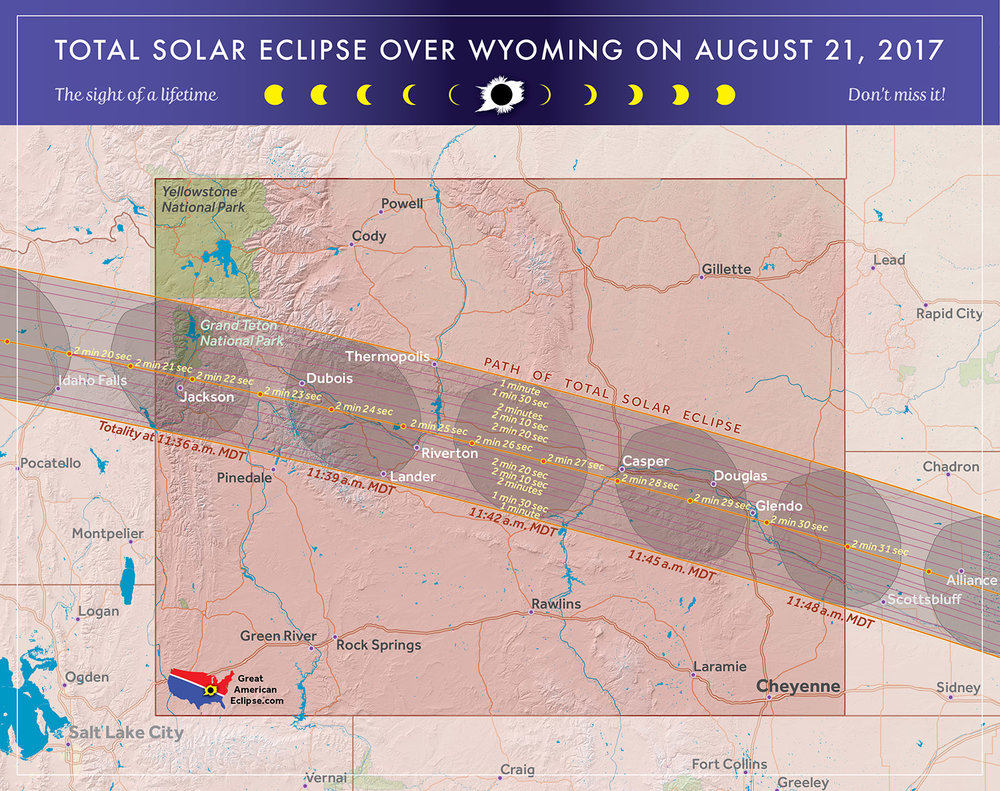 Wyoming will be a popular choice for eclipse chasers because of the good weather prospects, Uncrowded highways (outside the Jackson Hole area), and good duration of totality.