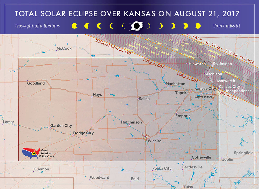 The Northeast corner of Kansas provides good access to the great american eclipse.