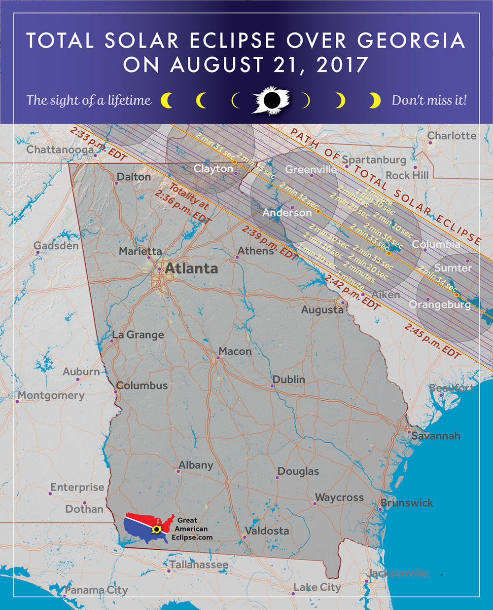 Many people from Atlanta will drive north into the path of totality.