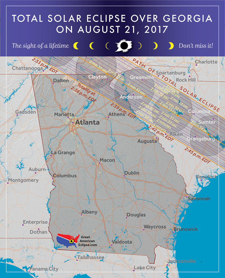 Georgia Eclipse Total Solar Eclipse Of Aug 21 2017