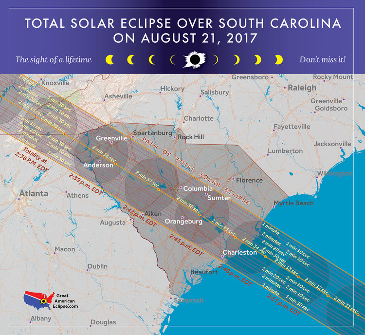 2017 Eclipse Usa Map.South Carolina Eclipse Total Solar Eclipse Of Aug 21 2017