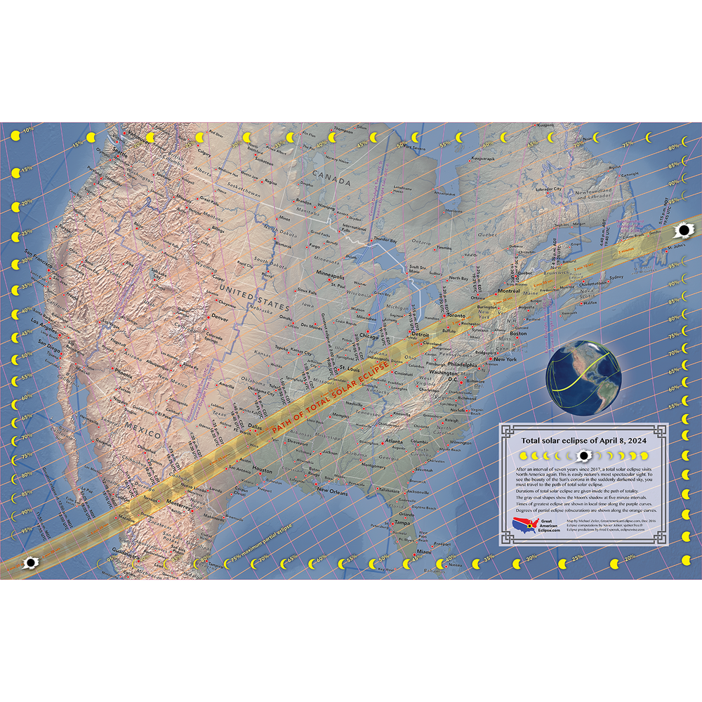 April 8 2024 Total Solar Eclipse Map  Total solar eclipse of Aug