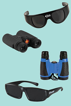 We offer a variety of deluxe eclipse viewing options include eclipse shades and solar binoculars. All have ISO certification for safe viewing. Click image for details.