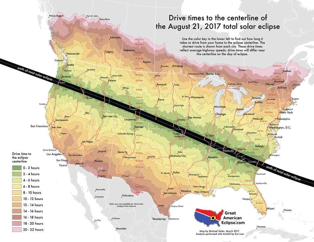 How long will it take to drive to the centerline of eclipse from my home? This is the result of a compute-intensive process to determine that.
