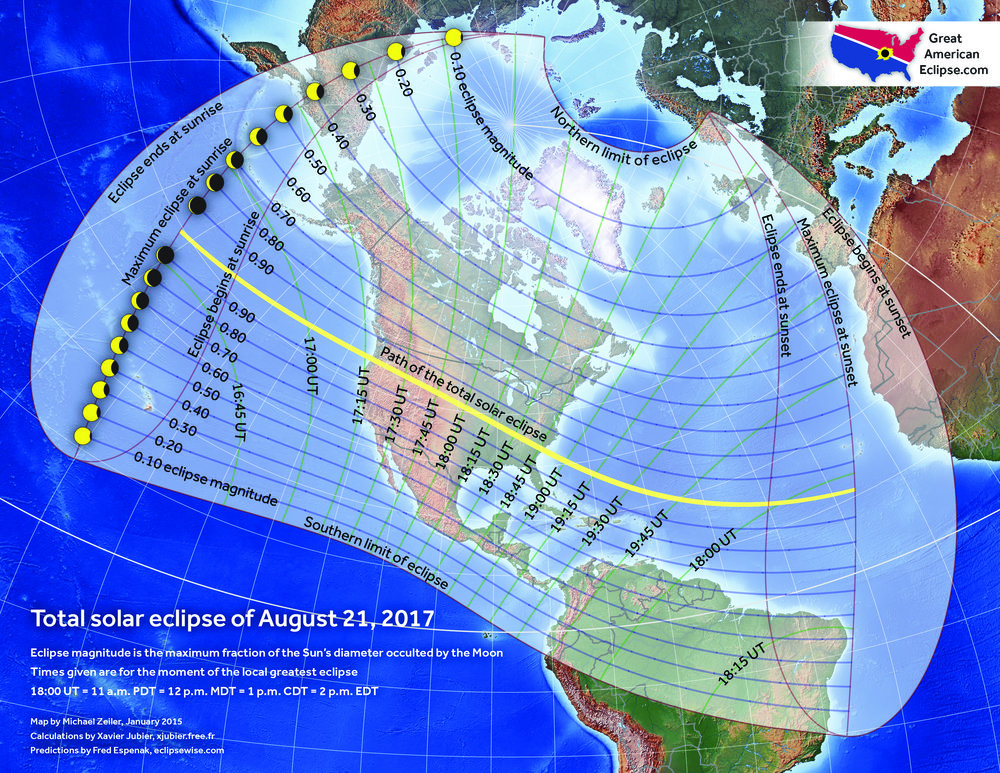 This map with stereographic projection shows two interesting facts: The entirety of North America will experience a partial solar eclipse as well as four other continents: south American, Asia, Europe, and Africa.