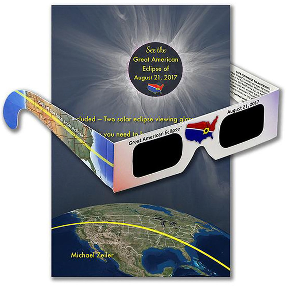 This richly-illustrated 44-page book explains everything you want to know about the eclipse on August 21 and includes two eclipse glasses. Click image for details.