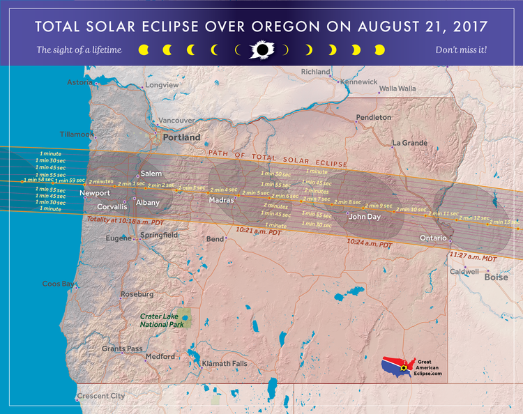 Oregon Eclipse Total Solar Eclipse Of Aug - Map oregon cities