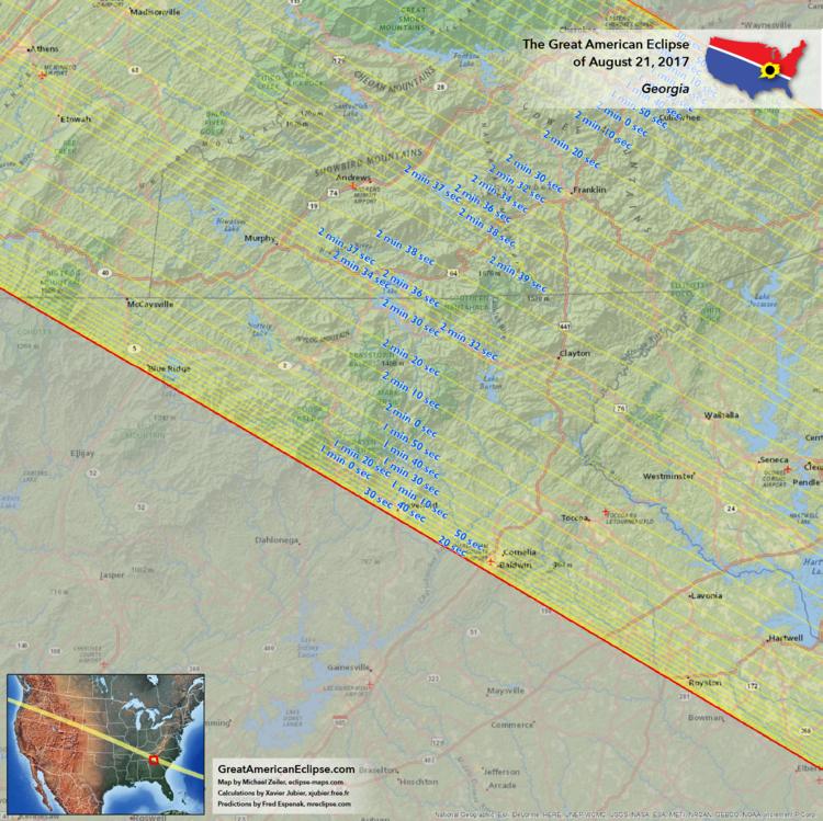 Georgia Eclipse Total Solar Eclipse Of Aug - Ga map