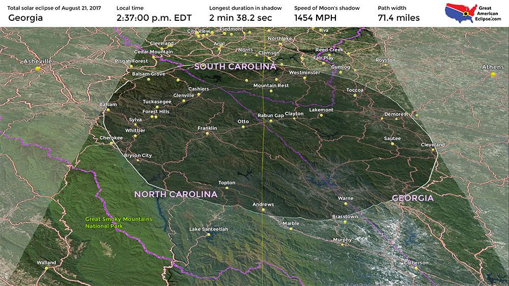 Georgia Eclipse Total Solar Eclipse Of Aug - Georgia map for solar eclipse