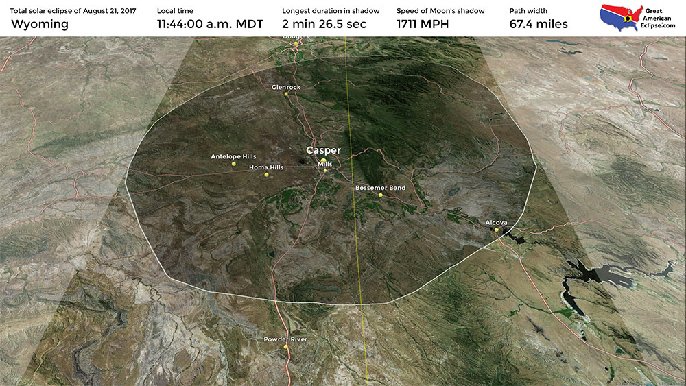 Wyoming Eclipse Total Solar Eclipse Of Aug - Detailed map of wyoming
