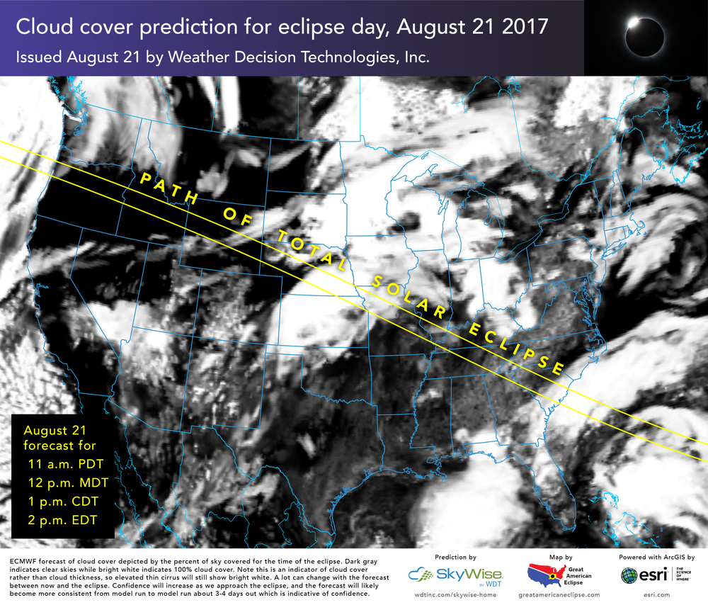 Today's cloud cover prediction for august 21st courtesy of wdtinc.com, esri.com, and greatamericaneclipse.com. Get hi-res forecast maps at this location.