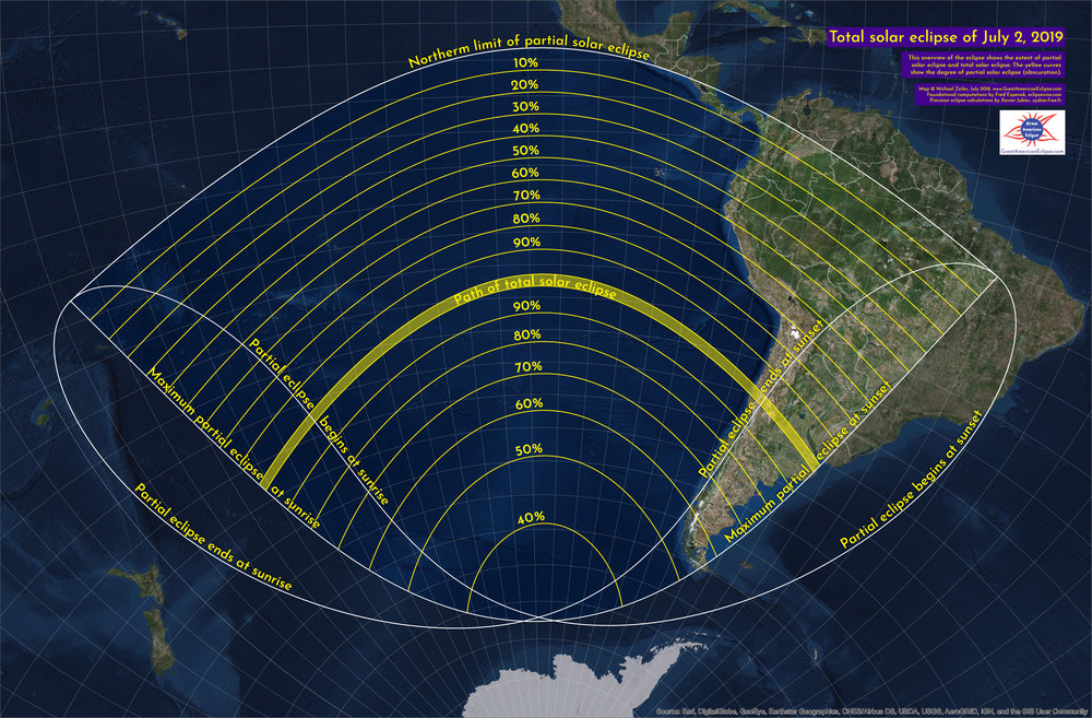 This is the penumbral area for the july 2, 2019 solar eclipse. The percentage values give the maximum partial solar eclipse (obscuration). click image for large map.