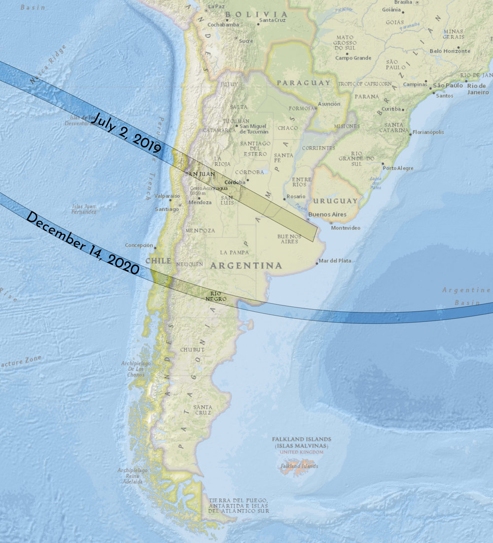 By coincidence, the next total solar eclipse after July 2, 2019 also crosses Chile and Argentina on December 14, 2020.