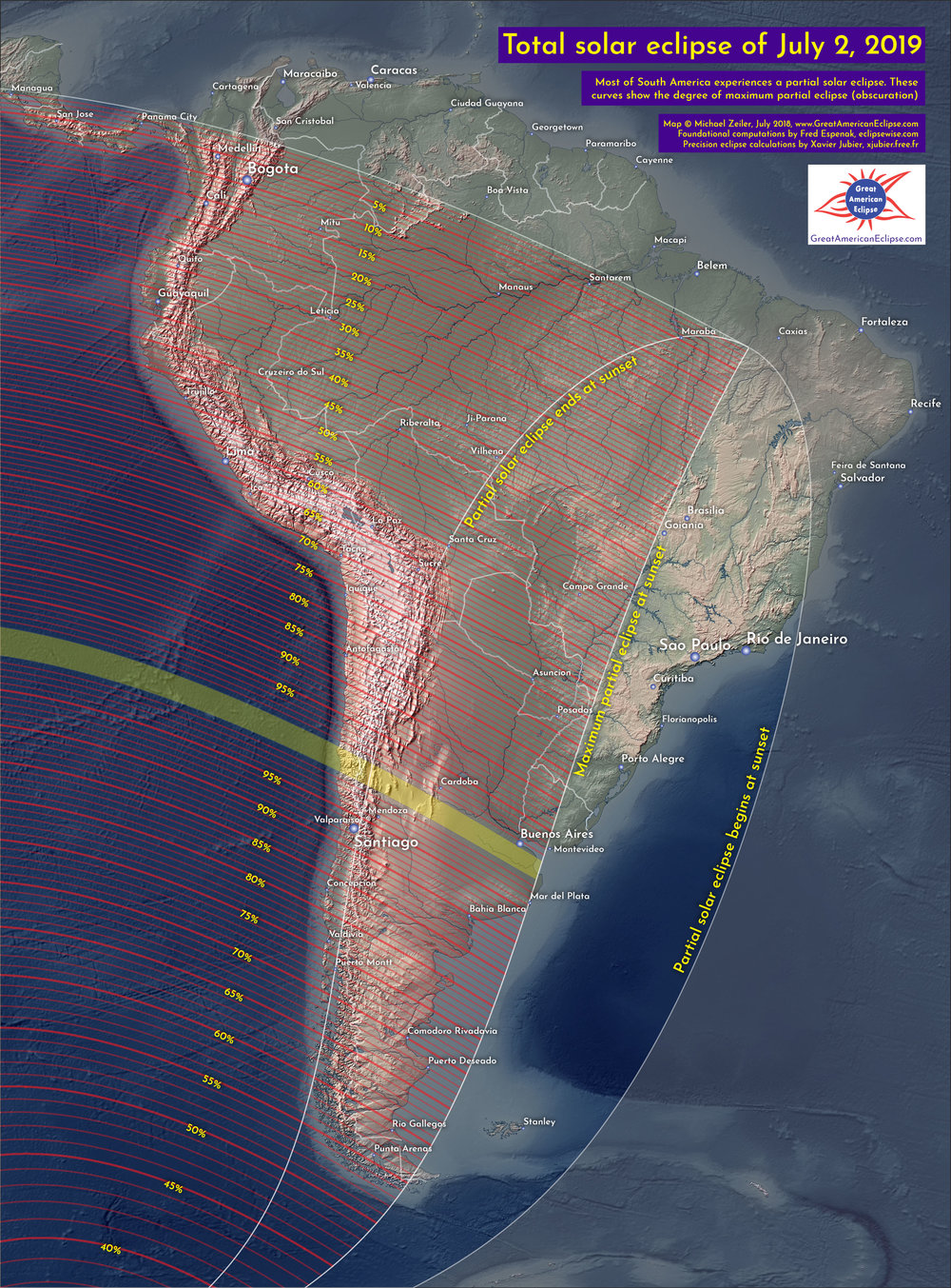 Eclipse obscuration across South America.