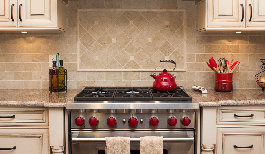 NDA Kitchens Red Knob Stove