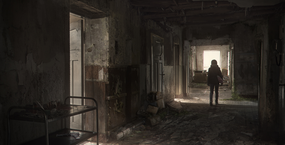 "Image by Gavriil Klimov, ""If You Ignore the Dust, It's Not That Bad"", a digital painting concept based on the game, The Last of Us. See his digital gallery here."