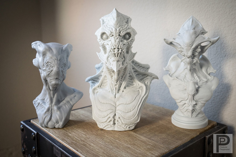 3D printed sculpture busts of Cornelius, Gillman, and Zotun by Dominic Qwek.