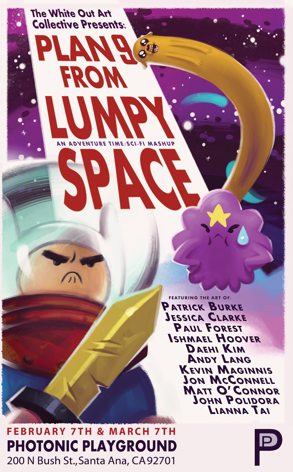 'Plan 9 from Lumpy Space' exhibit promotional poster painted by Jon McConnell for The White Out Art Collective.