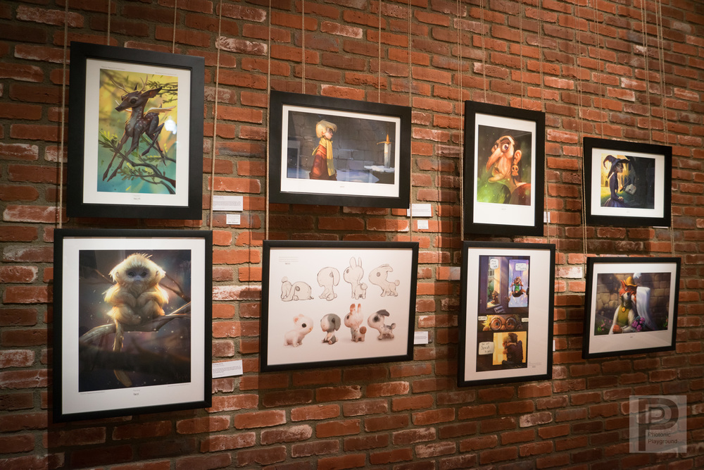Gallery display of Tyson Murphy's art.