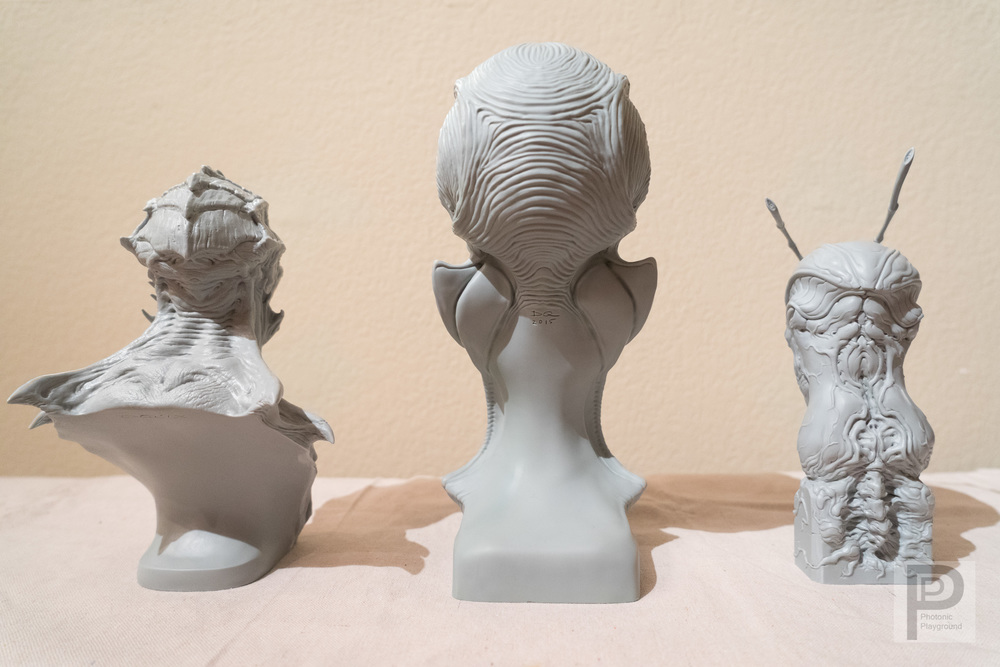 Gillman, Cthulhu and Hopper busts by Dominic Qwek in scale comparison together (back)
