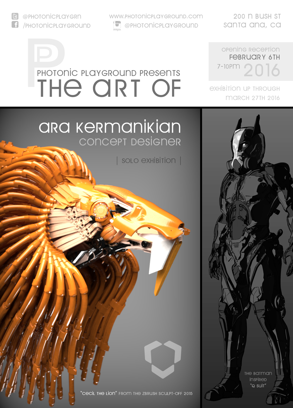 Marketing poster for the upcoming solo exhibition art show by Ara Kermanikian.