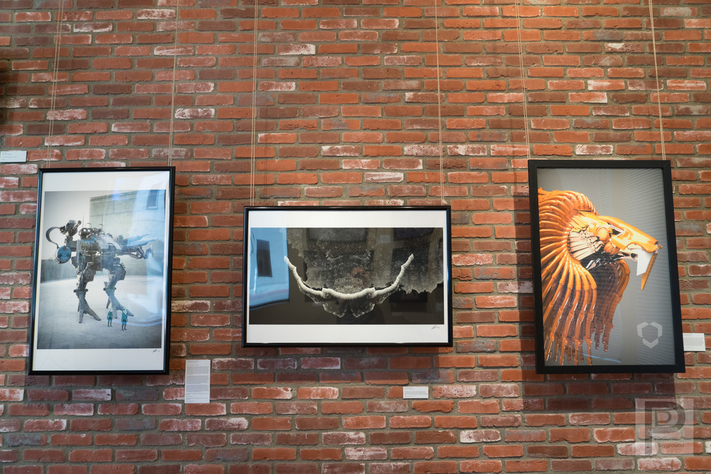 "Large 24x36"" framed art pieces on the gallery wall: ""Goliath 1st Unit"", ""Receptor"", and ""Cecil the Lion""."