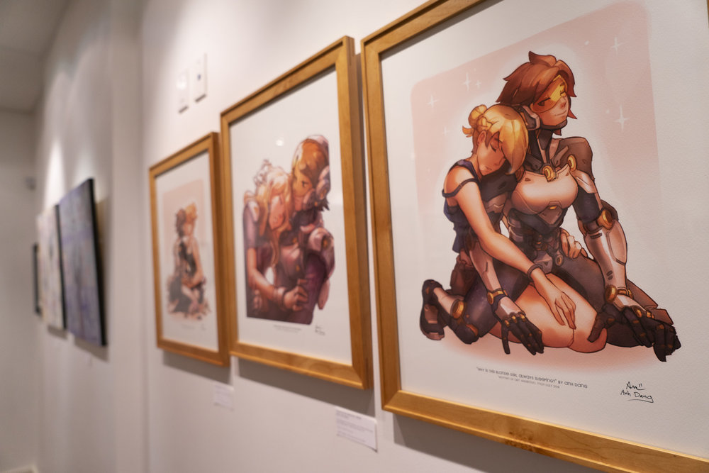 "Illustrations by  Anh Dang , on display at the ""Women of Art"" exhibition."