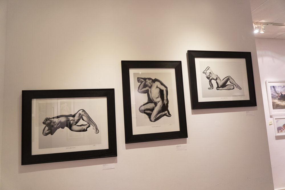 "Figure drawings by  Rebecca Kimmel , on display for the ""Women of Art"" exhibition."