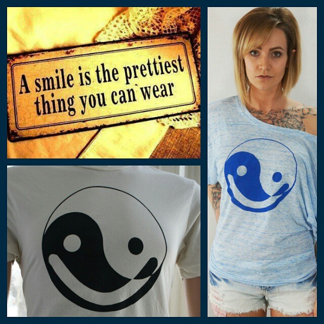 Just remember,  a smile is the prettiest thing you can wear. #smile, it's the #weekend! #smileyface #yingyang #yinyoga #screenprint #fashiontrends #instafab #instaglam #fashion #puremichigan #madeinmichigan #michigan #model #Detroit #etsy #michigangirl #inspiration #tshirt #tshirtoftheday #HotPicAtNoon #goblue